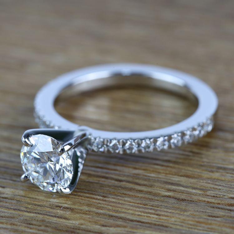 Petite Pave Diamond Engagement Ring (0.95 ct.) angle 2