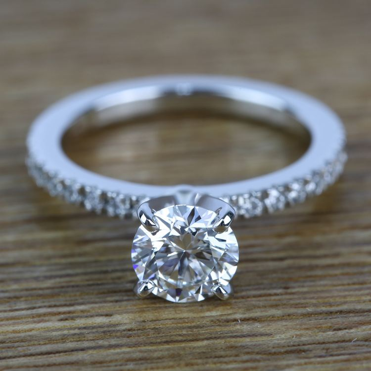 Petite Pave Diamond Engagement Ring (0.95 ct.)