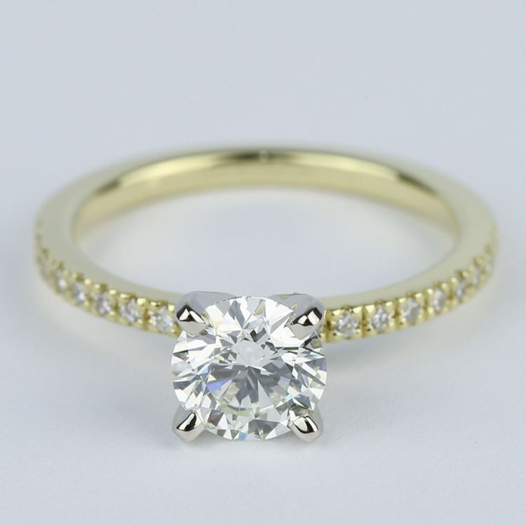 Petite K Color Diamond Engagement Ring in Yellow Gold (1.12 ct.)