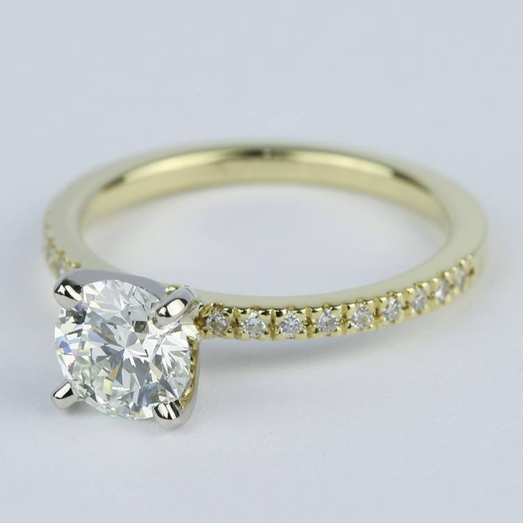 Petite K Color Diamond Engagement Ring in Yellow Gold (1.12 ct.) angle 2
