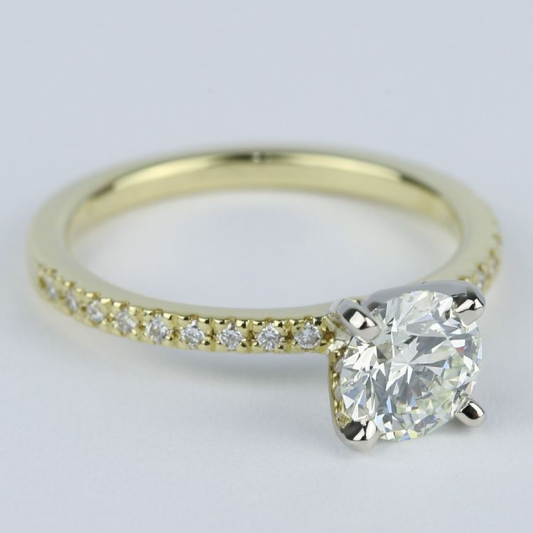 Petite K Color Diamond Engagement Ring in Yellow Gold (1.12 ct.) angle 3
