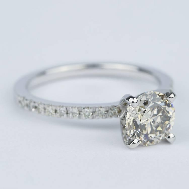 Petite Pave Solitaire M Color Diamond Engagement Ring (1.50 carat) angle 3