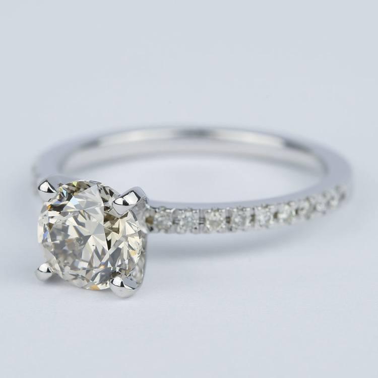 Petite Pave Solitaire M Color Diamond Engagement Ring (1.50 carat) angle 2