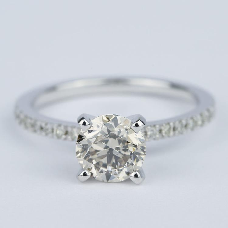 Petite Pave Solitaire M Color Diamond Engagement Ring (1.50 carat)