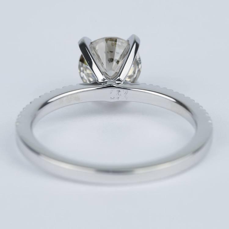 Petite Pave Solitaire M Color Diamond Engagement Ring 1