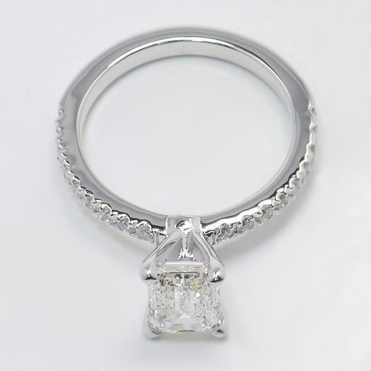 Petite Pave 1.40 Carat Emerald Diamond Engagement Ring angle 4