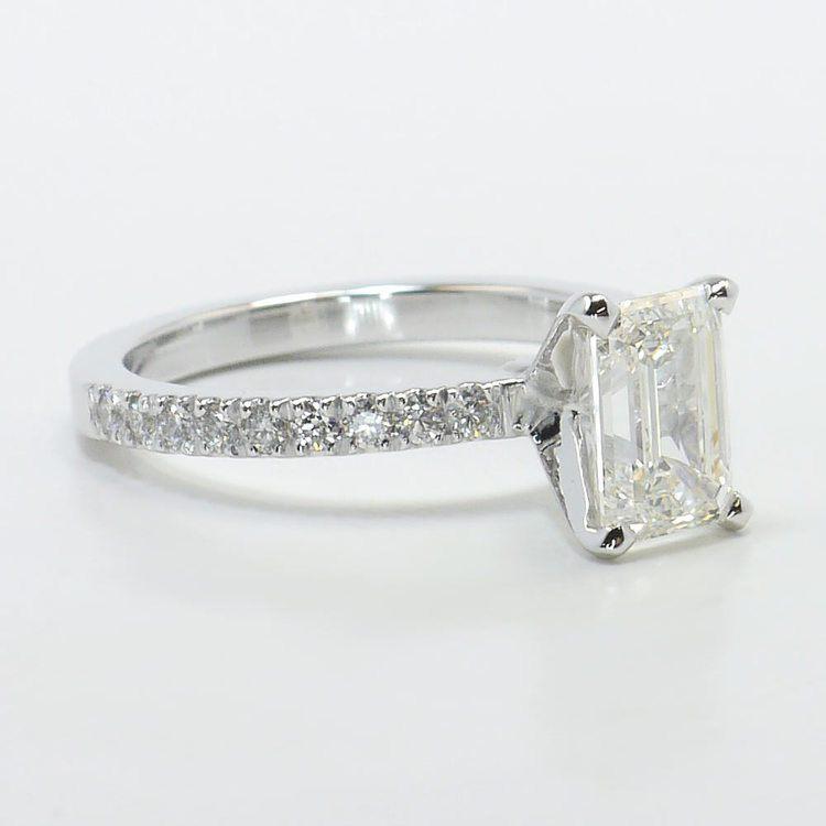 Petite Pave 1.40 Carat Emerald Diamond Engagement Ring angle 3