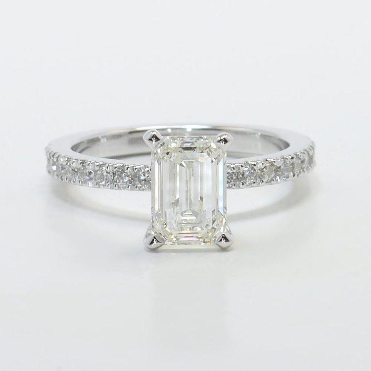Petite Pave 1.40 Carat Emerald Diamond Engagement Ring