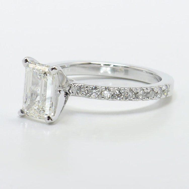 Petite Pave 1.40 Carat Emerald Diamond Engagement Ring angle 2