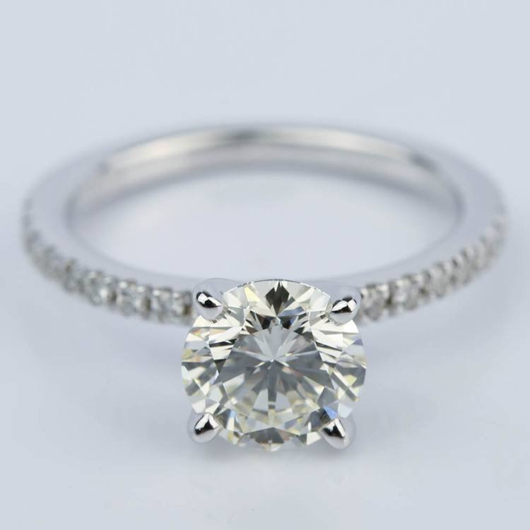 Petite Pave Engagement Ring with Super Ideal Diamond (1.31 ct.)
