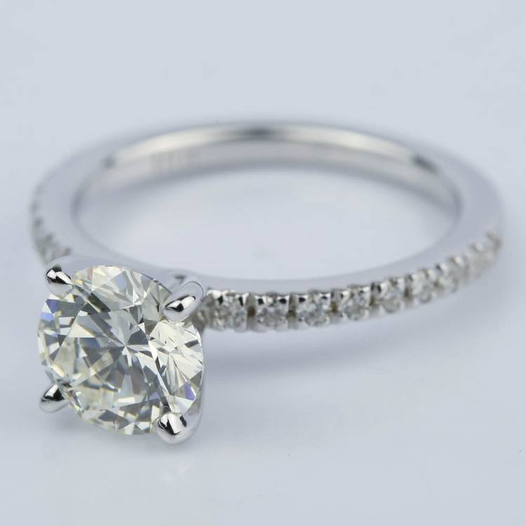 Petite Pave Engagement Ring with Super Ideal Diamond (1.31 ct.) angle 2