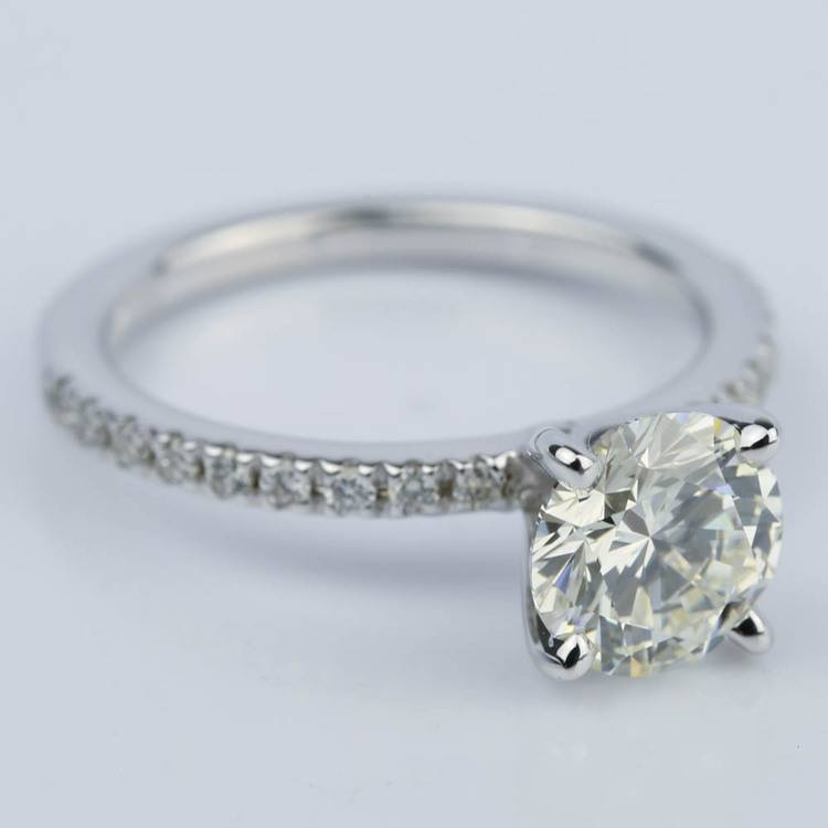 Petite Pave Engagement Ring with Super Ideal Diamond (1.31 ct.) angle 3