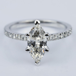 Petite Pave Marquise Diamond Engagement Ring in White Gold (1.30 ct.) - small