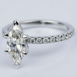 Petite Pave Marquise Diamond Engagement Ring in White Gold (1.30 ct.) - small angle 2