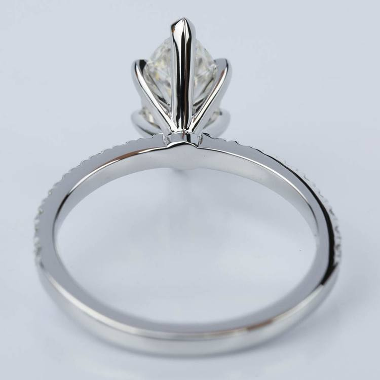 Petite Pave Marquise Diamond Engagement Ring in White Gold (1.30 ct.) angle 4