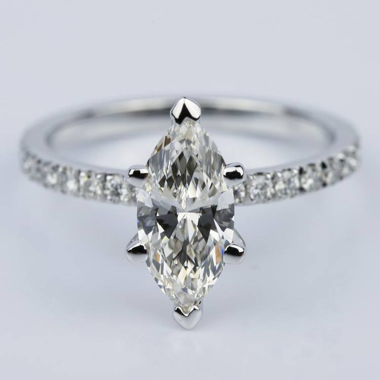 Petite Pave Marquise Diamond Engagement Ring in White Gold (1.30 ct.)