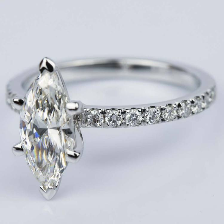 Petite Pave Marquise Diamond Engagement Ring in White Gold (1.30 ct.) angle 2