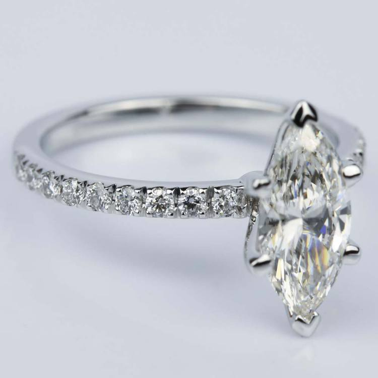 Petite Pave Marquise Diamond Engagement Ring in White Gold (1.30 ct.) angle 3