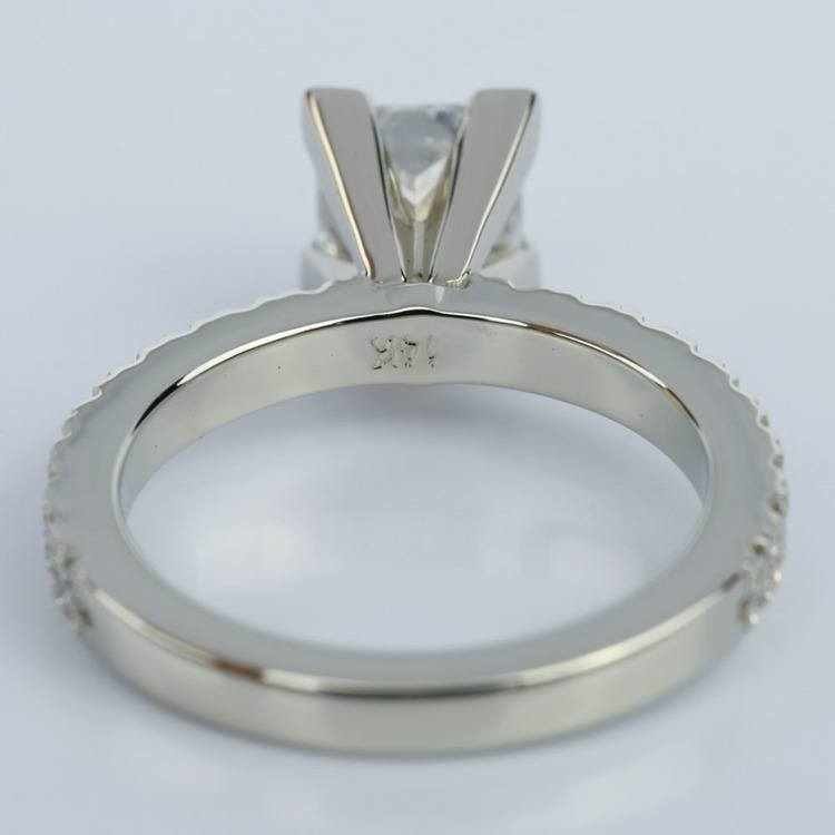Petite Pave Princess Cut Diamond Engagement Ring in White Gold (1.21 ct.) angle 4