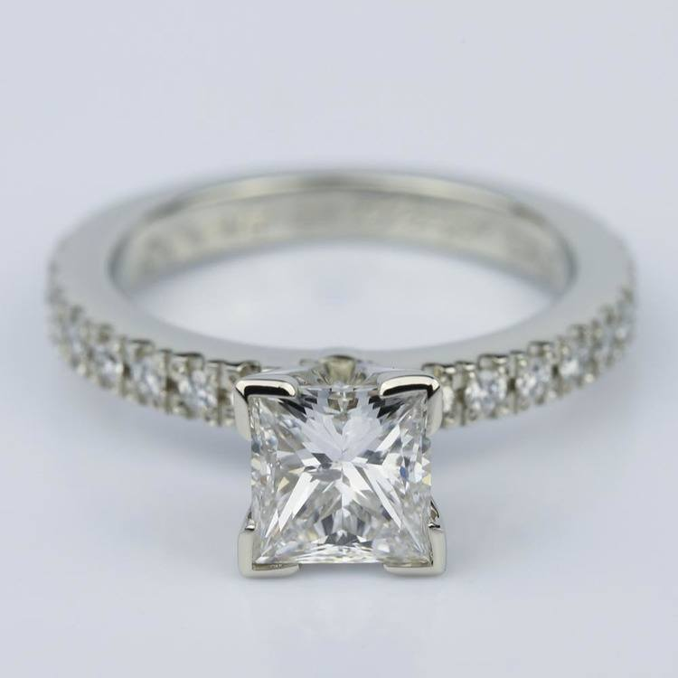 Petite Pave Princess Cut Diamond Engagement Ring in White Gold (1.21 ct.)