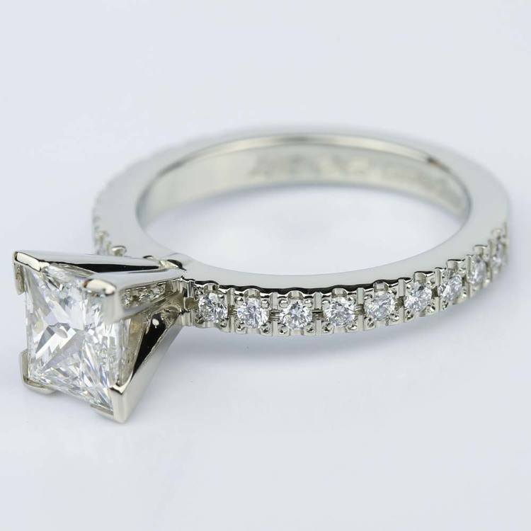 Petite Pave Princess Cut Diamond Engagement Ring in White Gold (1.21 ct.) angle 2