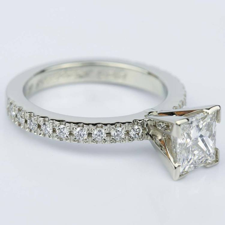 Petite Pave Princess Cut Diamond Engagement Ring in White Gold (1.21 ct.) angle 3