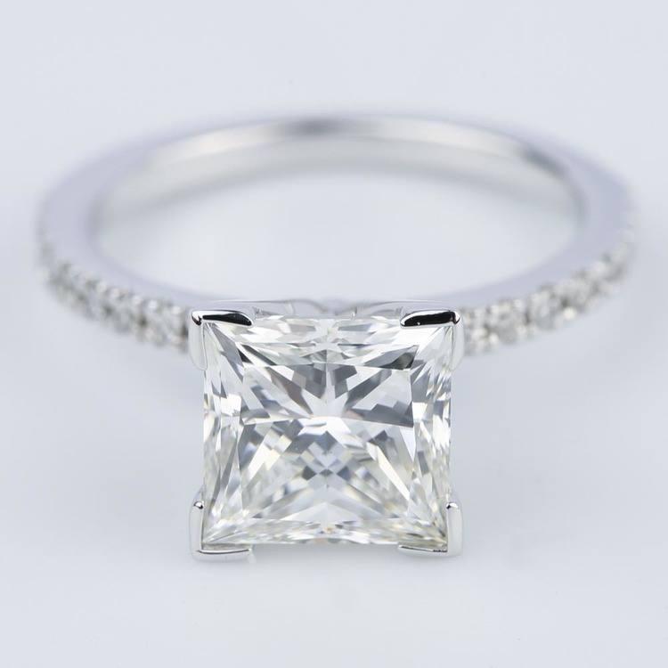 Petite Pave Princess Diamond Engagement Ring (2.50 ct.)