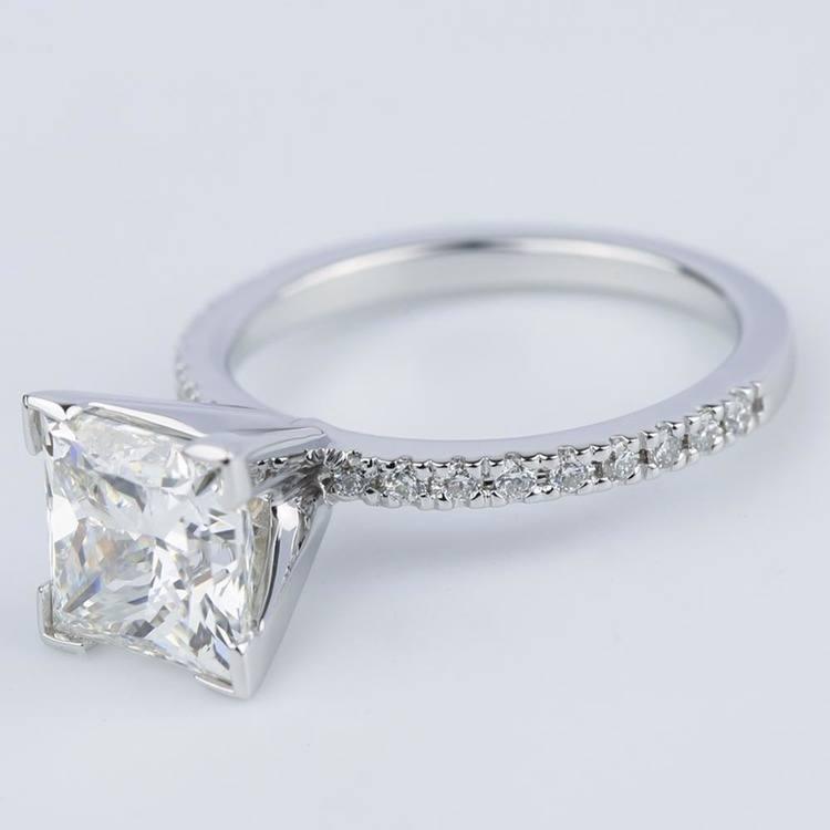 Petite Pave Princess Diamond Engagement Ring (2.50 ct.) angle 2
