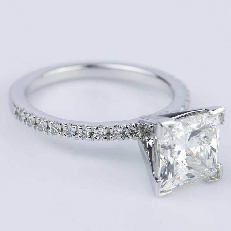 Petite Pave Princess Diamond Engagement Ring (2.50 ct.) angle 3
