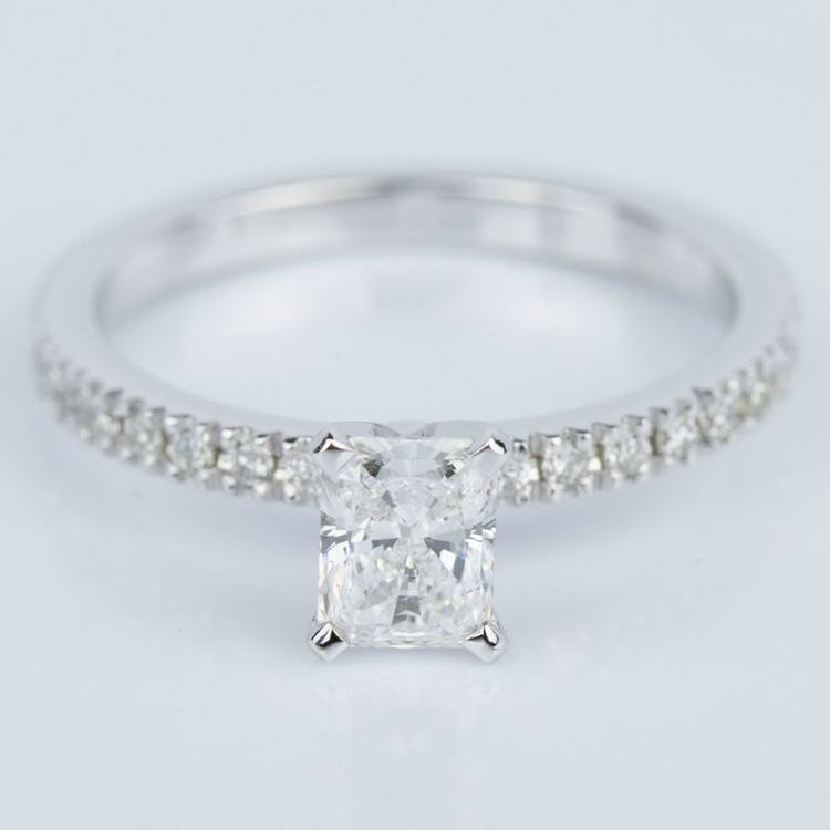 Petite Pave Radiant Diamond Engagement Ring in White Gold (0.71 ct.)