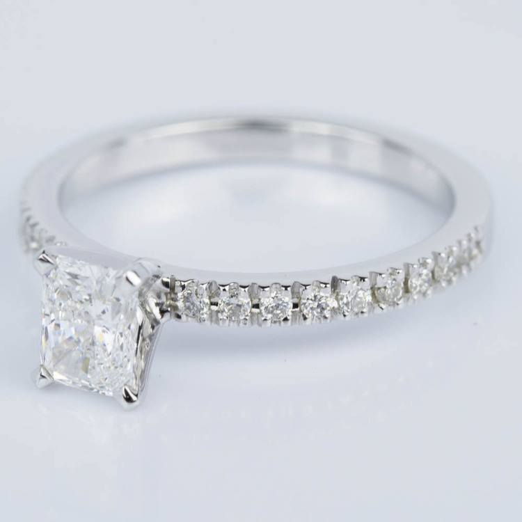 Petite Pave Radiant Diamond Engagement Ring in White Gold (0.71 ct.) angle 2