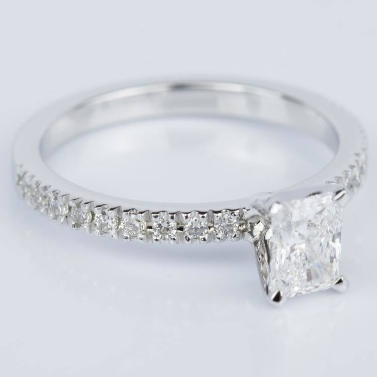 Petite Pave Radiant Diamond Engagement Ring in White Gold (0.71 ct.) angle 3