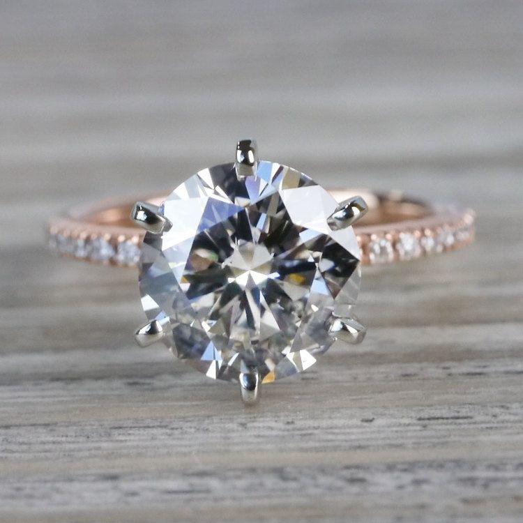 Petite Pave Round Cut Diamond Rose Gold Engagement Ring