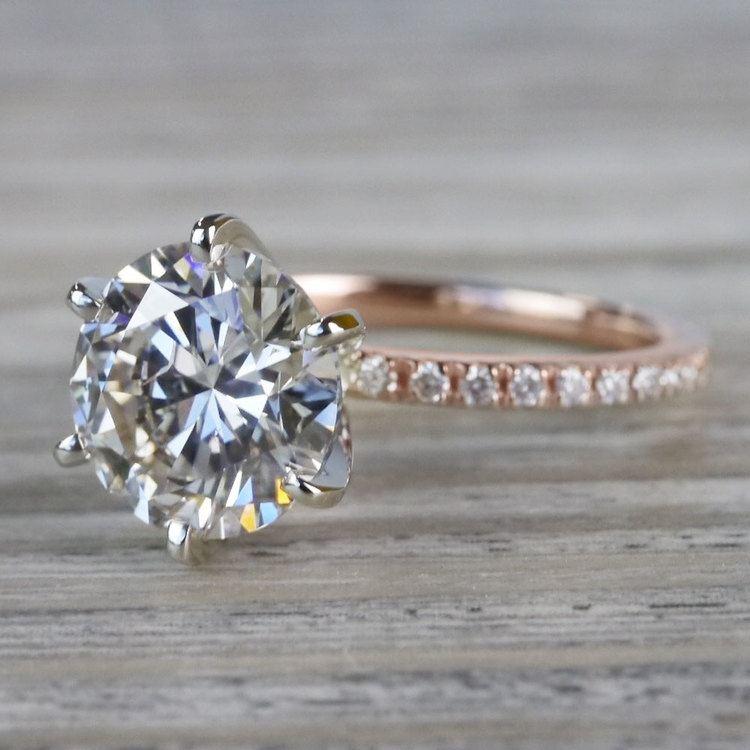 Petite Pave Round Cut Diamond Rose Gold Engagement Ring angle 2