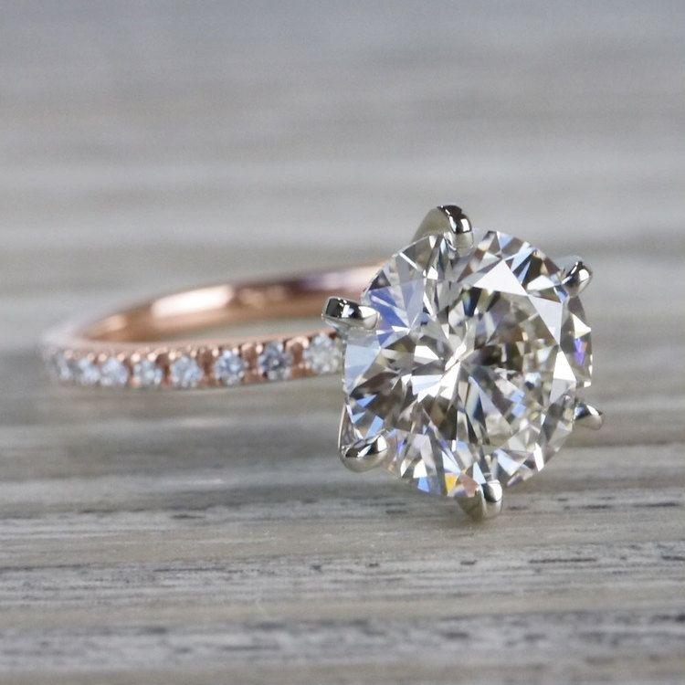 Petite Pave Round Cut Diamond Rose Gold Engagement Ring angle 3