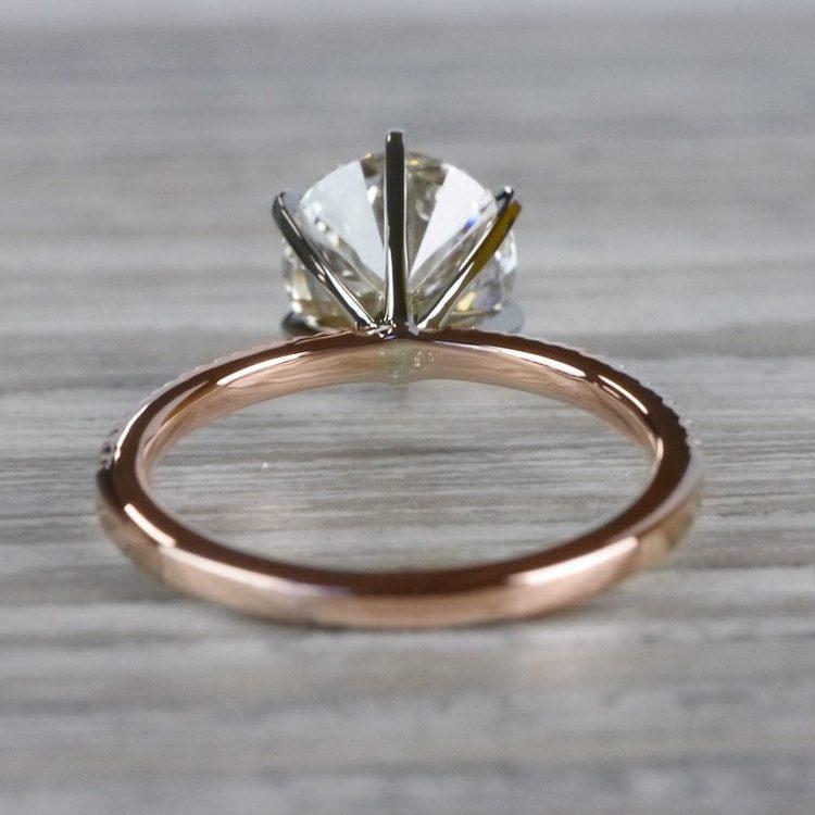 Petite Pave Round Cut Diamond Rose Gold Engagement Ring angle 4