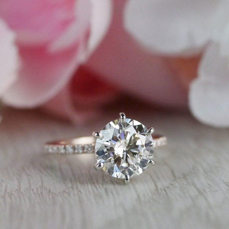 Petite Pave Round Cut Diamond Rose Gold Engagement Ring angle 5