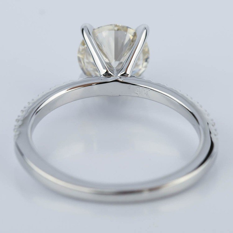 Petite Pave Round Diamond Engagement Ring in White Gold (1.50 ct.) angle 4