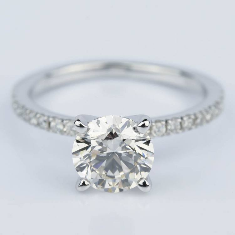 Petite Pave Round Diamond Engagement Ring in White Gold (1.50 ct.)
