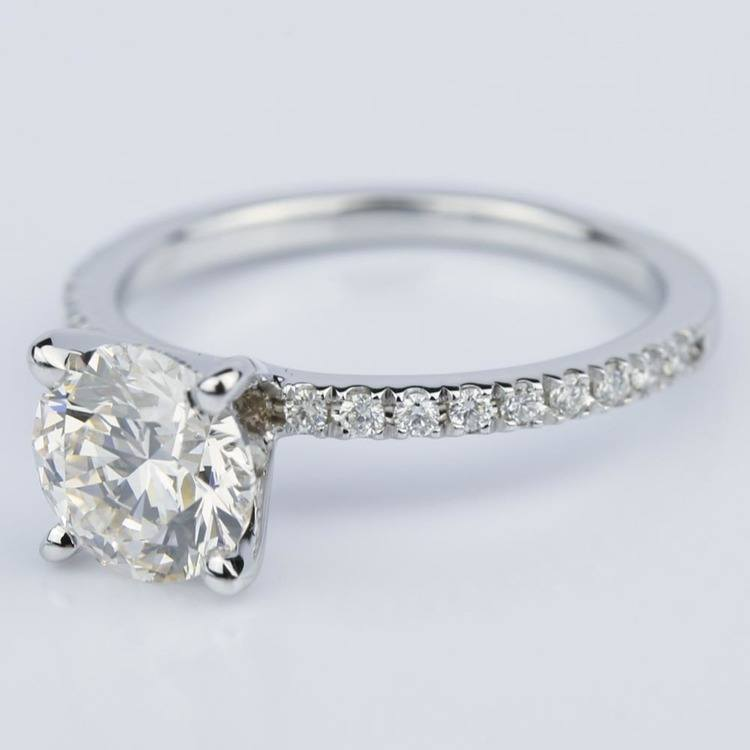 Petite Pave Round Diamond Engagement Ring in White Gold (1.50 ct.) angle 2