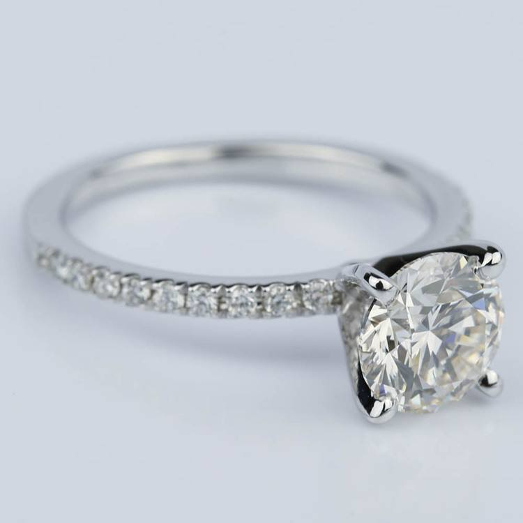 Petite Pave Round Diamond Engagement Ring in White Gold (1.50 ct.) angle 3