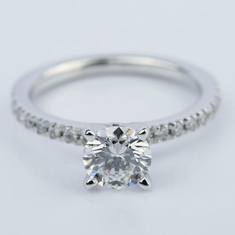 Petite Pave Super Ideal Diamond Engagement Ring (0.70 ct.)