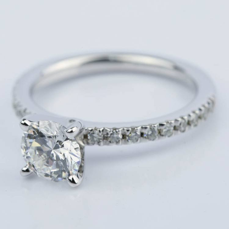 Petite Pave Super Ideal Diamond Engagement Ring (0.70 ct.) angle 2