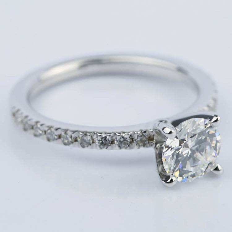 Petite Pave Super Ideal Diamond Engagement Ring (0.70 ct.) angle 3