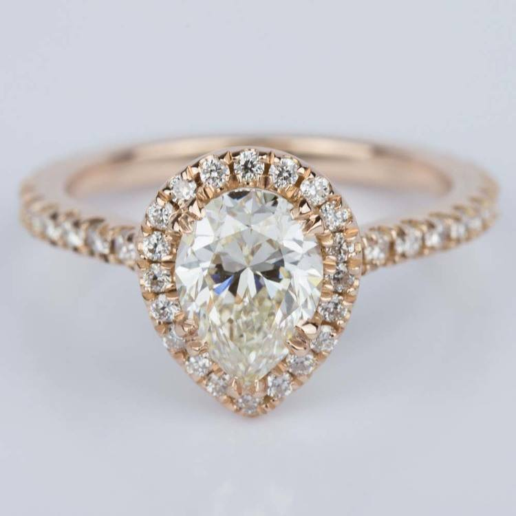 Petite Pear Halo Diamond Engagement Ring (1.10 ct.)