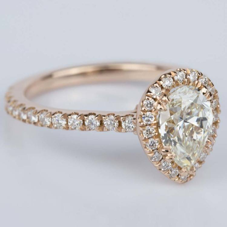 Petite Pear Halo Diamond Engagement Ring (1.10 ct.) angle 3