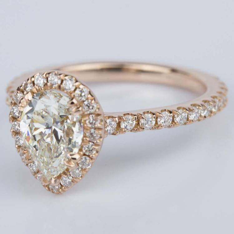 Petite Pear Halo Diamond Engagement Ring (1.10 ct.) angle 2