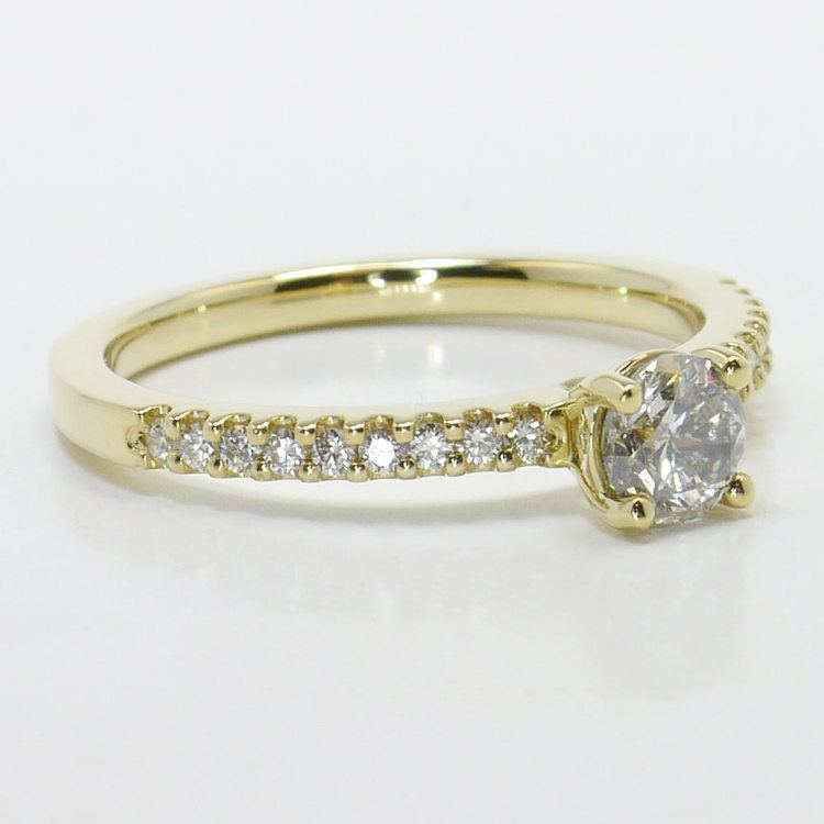 Half Carat Round Petite Scallop Diamond Engagement Ring angle 3