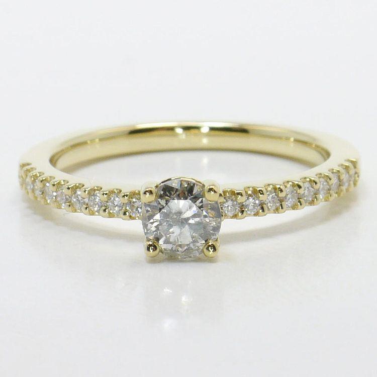 Half Carat Round Petite Scallop Diamond Engagement Ring