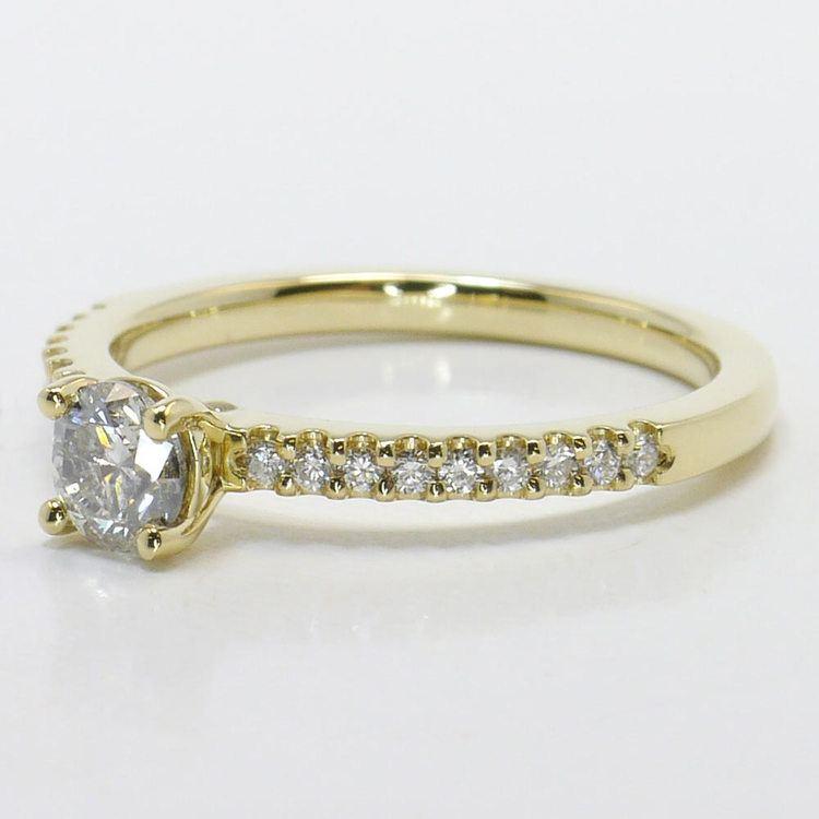 Half Carat Round Petite Scallop Diamond Engagement Ring angle 2